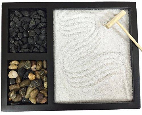 Deluxe Wooden Zen Sand Garden with 2 Types of Rocks, Sand, and Rake (Rock Zen)