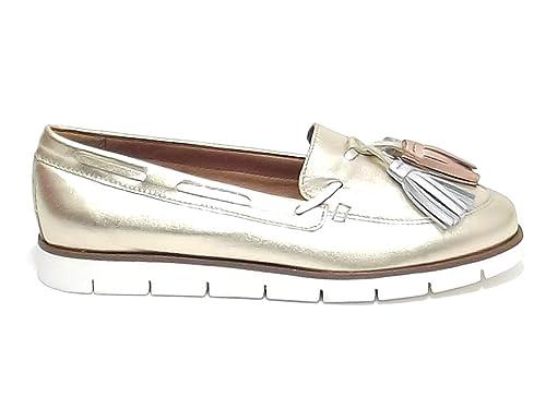 Soldini - Mocasines para Mujer Dorado Platino Dorado Size: 37: Amazon.es: Zapatos y complementos