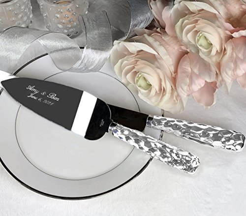 PERSONALIZED, Engraved Hammered Design Silver Stainless Wedding Cake Serving Set - Knife and Server by Fashioncraft (Image #4)