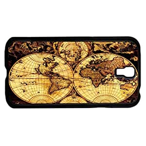 Tan and Black Vintage Map Hard Snap on Phone Case (Galaxy s4 IV)