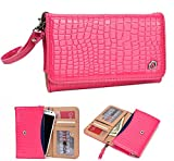 NuVur ™ Crocodile Embossed Faux Leather ::Smartphone:: Universal Wallet Clutch Fits Acer Liquid Jade|Pink