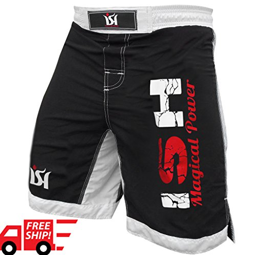 "MMA Fight Kick Boxing Shorts UFC Cage Fight Grappling Muay Thai Boxing Kick boxing Martial Art Training Clothing Uniform (Medium 34-36"")"