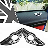iJDMTOY (2) Black Union Jack UK Flag Style Wing Emblem Rings For 2nd Gen MINI Cooper R55 R56 R57 R58 R59 Door Lock Knobs (Does not fit R60 R61 nor F55 F56 models)