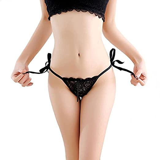 9ad6e5a42 Image Unavailable. Image not available for. Color  Huahan Extension Women  Tie Side Bowknot Ribbons Sexy Lace Thongs Panties Adjustable G-String  Underwear