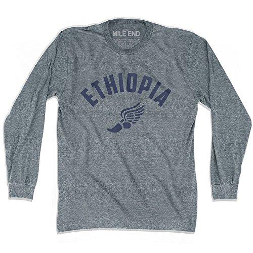 - Ethiopia Track Long Sleeve T-shirt, Athletic Grey, Adult Medium