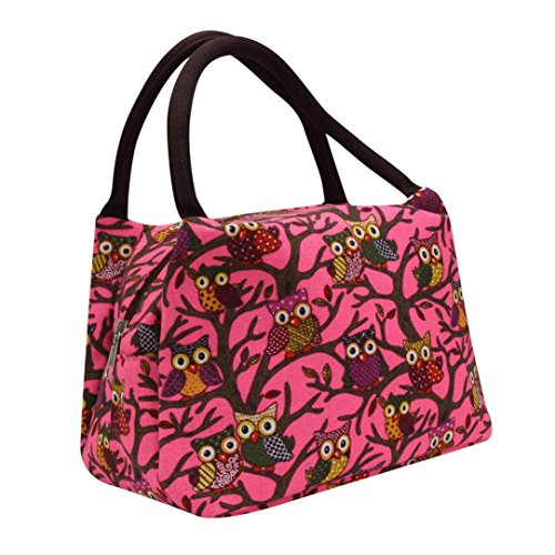 Clearance Fasion Owl Thermal Insulated Picnic /Lunch Cooler Box Handbag Pouch for Women Adults Kids Duseedik (Hot Pink)