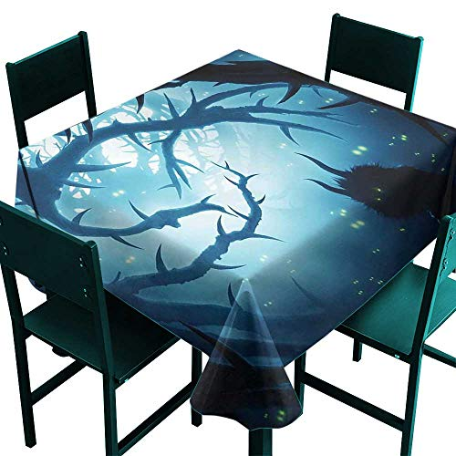 Mystic Decor Washable Table Cloth Animal with Burning Eyes in Dark Forest at Night Horror Halloween Illustration Great for Buffet Table W36 x -