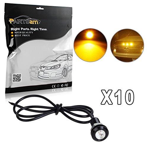 2011 Dodge Caliber Grille - Partsam 10x 3000K Amber LED Lamps Eagle Eye Lights Front Grille Lighting Kit/License Plate Lights DIY etc.
