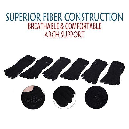 AMAREY Toe Socks - Five Finger Socks, Running Socks, Breathable Non-slip, 6 Pairs (L)