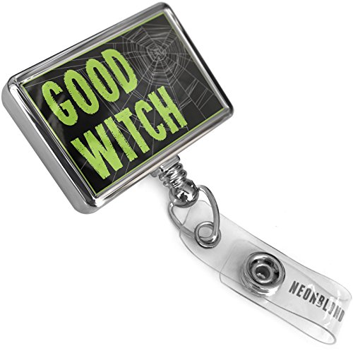 Retractable ID Badge Reel Good Witch Halloween Creepy Green Spider Web with Bulldog Belt Clip On Holder Neonblond