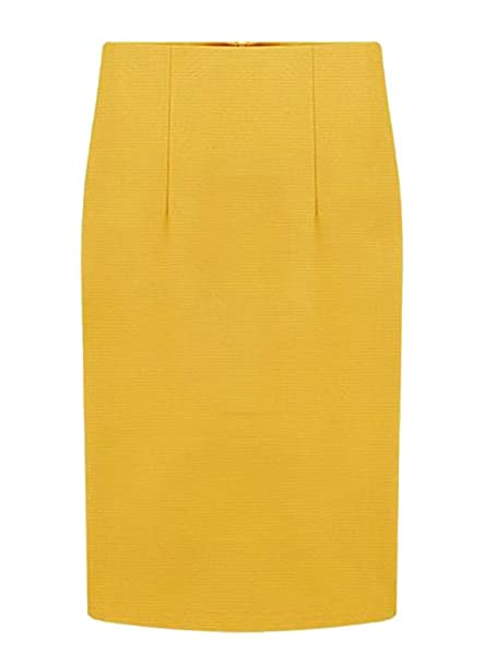5086adfe6139b4 Choies Women Yellow Pencil Midi Skirt Middle at Amazon Women's ...
