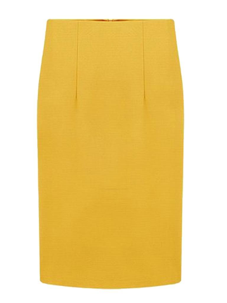 Choies Women Yellow Pencil Midi Skirt Middle