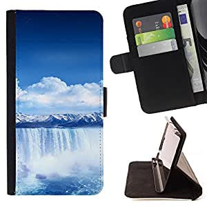 Waterfall Blue Africa - Painting Art Smile Face Style Design PU Leather Flip Stand Case Cover FOR Apple Iphone 4 / 4S @ The Smurfs