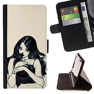Momo Phone Case / Flip Funda de Cuero Case Cover - Gato de la bruja mujer Chica Virgen Sexy - Samsung Galaxy S6 Edge Plus / S6 Edge+ G928