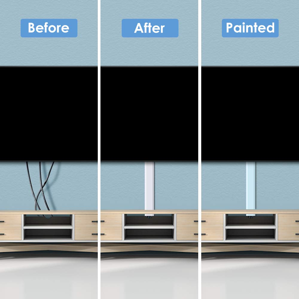 250'' Upgrade Cable Concealer - On-Wall Cord Cover Raceway Kit - 16 Cable Covers - CMC-02 Large Wire Hider - Paintable Cable Management Channel for Wall Mounted TV - L15.7 inch, W1.18 H0.6 inch, White by Yecaye (Image #4)