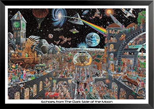 Buyartforless Work Framed Echoes from The Dark Side of The Moon 50 Pink Floyd Songs by Tom Masse 32x22 Music Art Print Poster Rock and Roll Man Cave, Black