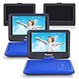 NAVISKAUTO 9'' Dual Screen Portable DVD Players for Car & Home Use with Headrest Mount Holder Support 5-Hour, Sync Screen, AV Out & in, Last Memory, USB SD