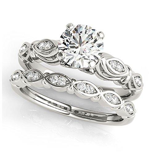 14K White Gold Unique Wedding Diamond Bridal Set Style MT50776