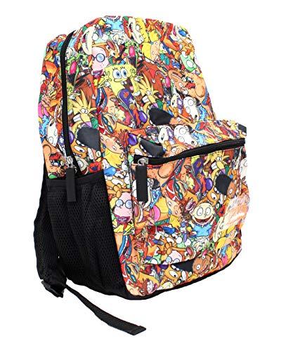 Zip Backpack - Nickelodeon 90s Cartoon Nostalgia Front Zip Pouch Backpack Book Bag