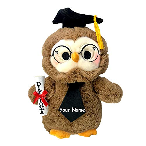 B&B ToyMaker Personalized Graduation Owl with Diploma and Cap Light and Sound Toy Plush Stuffed Animal for Boys and Girls with Custom Name