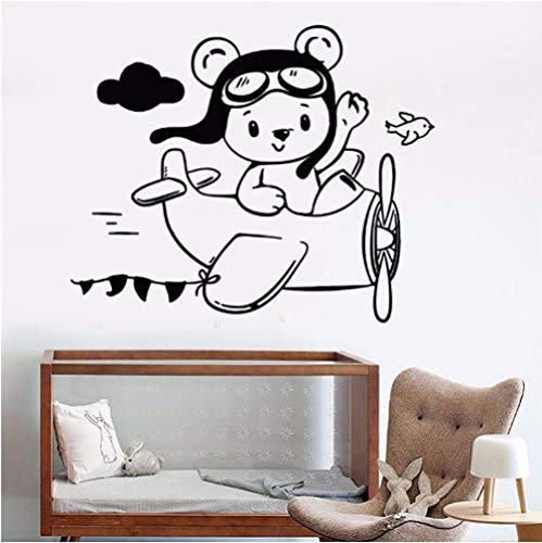- Removable Vinyl Wall Decal Little Teddy Bear Aviator Plane Wall Stickers for Children's Room Waterproof Art Stickers Mural 57x72cm