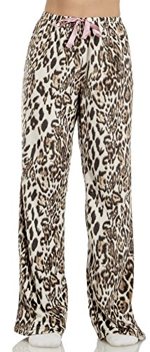 Jessica Simpson (6601JS) Womens Minky Microfleece Lounge Pajama Pants Size: Small In Leopard (Leopard Lounge Pants)