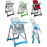 Monsieur Bébé ® Chaise haute enfant pliable, réglable hauteur, dossier et tablette - 4 coloris - Norme NF EN14988 - P'tit chou