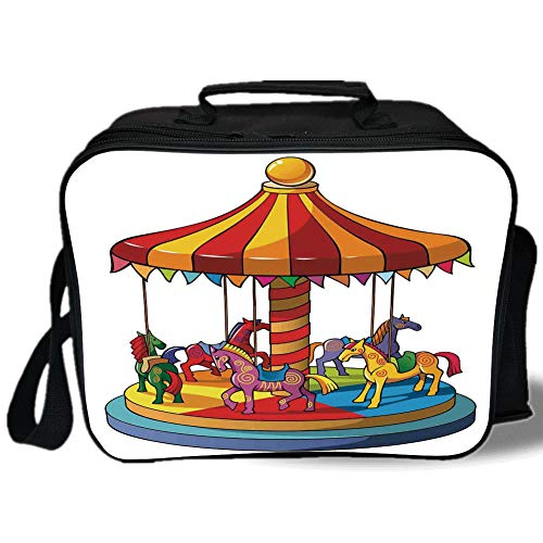 Insulated Lunch Bag,Kids,Cartoon Carousel Horses Merry Go Round Amusement Park Roundabout Playground Decorative,for Work/School/Picnic, Grey