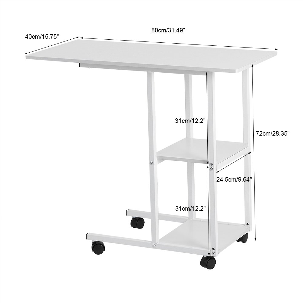 Amazon.com : Over Bed Table with Wheels, Home Office Portable Laptop Computer Desk Sofa Side Table for Studying Reading Breakfast Table : Office Products