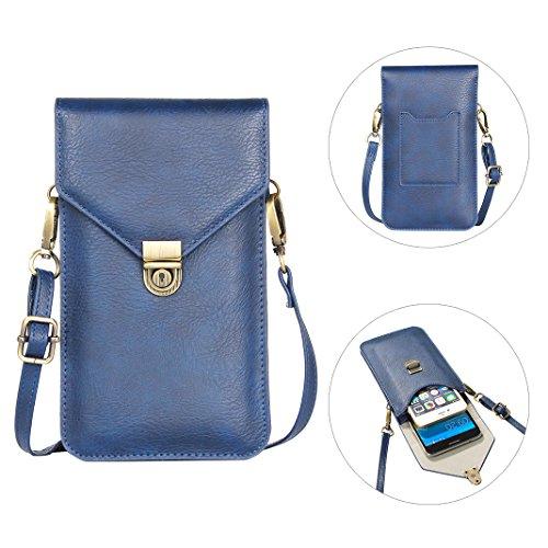 Handy Umhängetasche, Moon mood® 6.3 Zoll Premium PU Leder Doppelschicht Universal Handytasche zum Umhängen Geldbörse Kleine Tasche für Frauen Mädchen Kinder iPhone X 8 Plus 7 Plus 6 6S Galaxy S8 S8 Pl T Blau