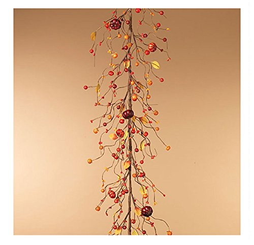 Gerson 58 Inches Length Autumn Mini Pumpkin Natural Look Garland Decorative Accessories by Gerson