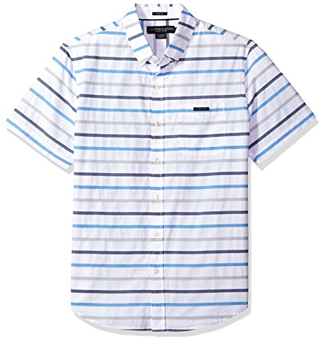 U.S. Polo Assn.. - Camisa de Manga Corta para Hombre, Ajustada, a Rayas, White Ghmm, Small