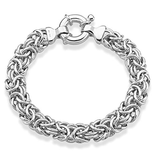 MiaBella 925 Sterling Silver 11mm Textured and Polished Wide Byzantine Link Chain Bracelet for Women, 7, 8 Inch Made in Italy (8)