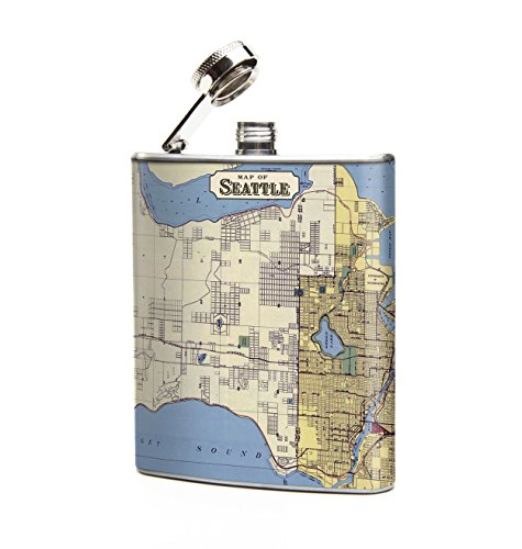 Oso and Bean Seattle Vintage Antique Map Designer Art Hip - Designer Flask