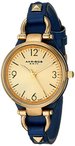 Akribos XXIV Women's AK761BU Swiss Quartz Movement Watch with Yellow Gold Engraved Sunburst Dial and Blue Calfskin Leather Strap