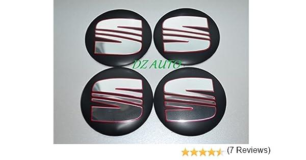Juego de 4 pegatinas tapacubos para el coche con el logotipo de Seat, 90 mm: Amazon.es: Coche y moto