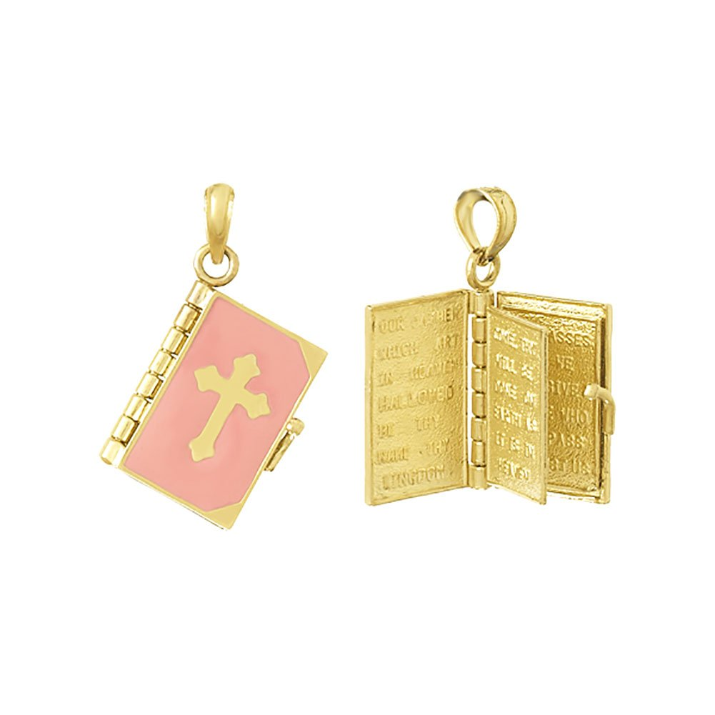 14k Yellow Gold Religious Charm Pendant, 3D Bible Book with Pink Cross Cover, Moveable Pages