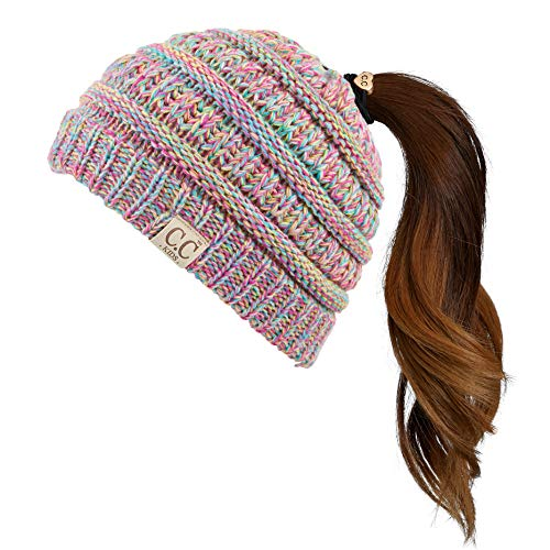 Hatsandscarf C.C Exclusives Kids Ages 2-7 Warm Chunky Thick Stretchy Knit Beanie Tail Hat for Kids Skull Hat (Rainbow Mix)