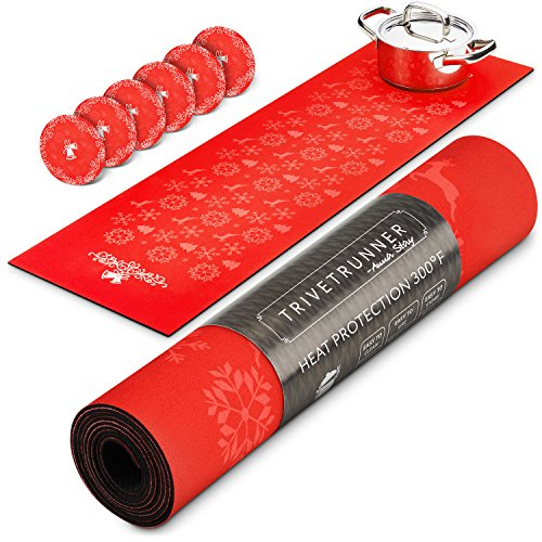 TRIVETRUNNER Red Set Christmas Coasters :Decorative Trivet and Kitchen Table Runners Handles Heat Up to 300F, Anti Slip, Hand Washable, and Convenient for Hot Dishes and Pots (Red+Coasters)