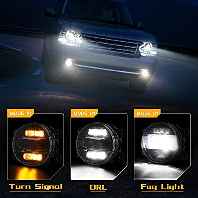 Universal LED Fog Lights with White DRL Amber Turn Signal Driving Fog Lamps for Ford Explorer Freestyle Mustang Nissan Cube: Automotive
