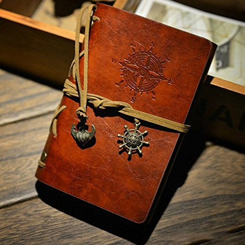 JackLook Fashion Personality Notebook Journal Refillable Spiral Ring Binder Diary Retro Book Naval Compass Print (Wine)