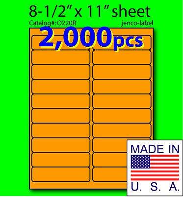 (Jenco-Label O220R, 2,000 Orange Fluorescent Address Labels, 4x1 )