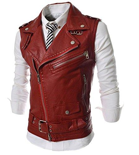 QinYing Men Slim Fit Oblique Zippers PU Leather Motorcycle Jacket Vest Red L/US ()