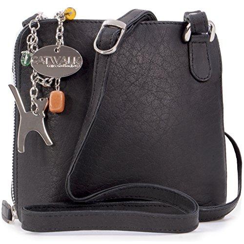 Catwalk Collection Leather Cross-Body Bag - Lena Black