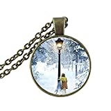 Narnia The Lion The Witch And The Wardrobe Lucy And Lamp-Post Necklace Glass Photo Cabochon Necklace