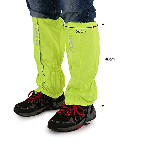 Lixada 1 Pair Outdoor Gaiters Water Resistant Windproof Leg Protection Cover Wraps Unisex Zippered Closure Wear for Biking Snowboarding Hiking Climbing
