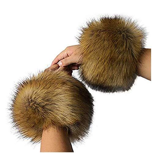 Faux Fur Cuffs Women Furry Wrist Cuffs Arm Warmers Wristband Band Ring Sleeves