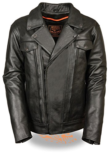 Mens Motorcycle Biker Riding Blk Double Pistol pete Fitted Leather Jacket New (XL -