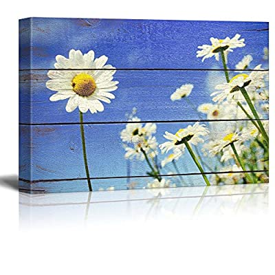 Professional Creation, Incredible Technique, A Lone Daisy Faces Camera Rustic Floral Arrangements Pastels Colorful Beautiful Wood Grain Antique