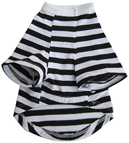Iconic Pet Pretty Pet Striped Top, Small, Black and White by Iconic Pet